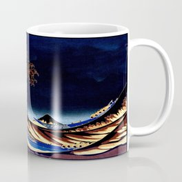 The GREAT Wave Midnight Blue Brown Coffee Mug