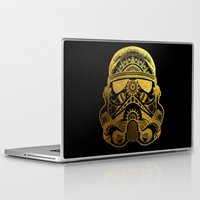 gold foil Laptop & iPad Skins featuring Mandala StormTrooper - Gold Foil by Spectronium - Art by Pat McWain