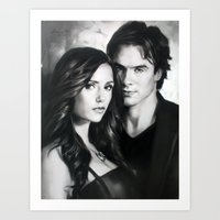 vampire diaries Art Prints featuring The Vampire Diaries by MasterpieceDirect