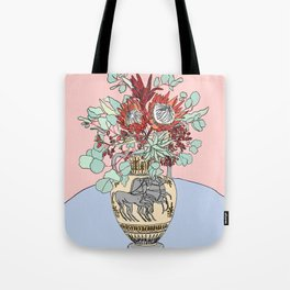Greek Urn with Horses and Protea Bouquet Tote Bag