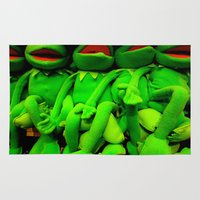 kermit Area & Throw Rugs featuring Kermits Sans  Eyes by Ann Yoo