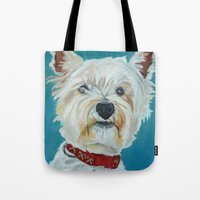 westie Tote Bags featuring Jesse the Beautiful Westie by Barking Dog Creations Studio