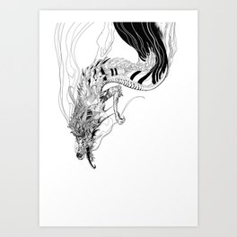 Falling dragon Art Print