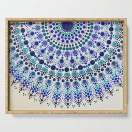 Blue and White Half Mandala Serving Tray