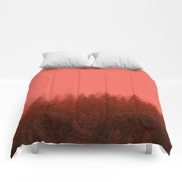 0388 Chocolate Forest with Living_Coral Fog, AK Comforters