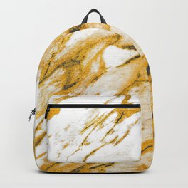 White Marble With Gold Dust Sparkle Veins Backpack