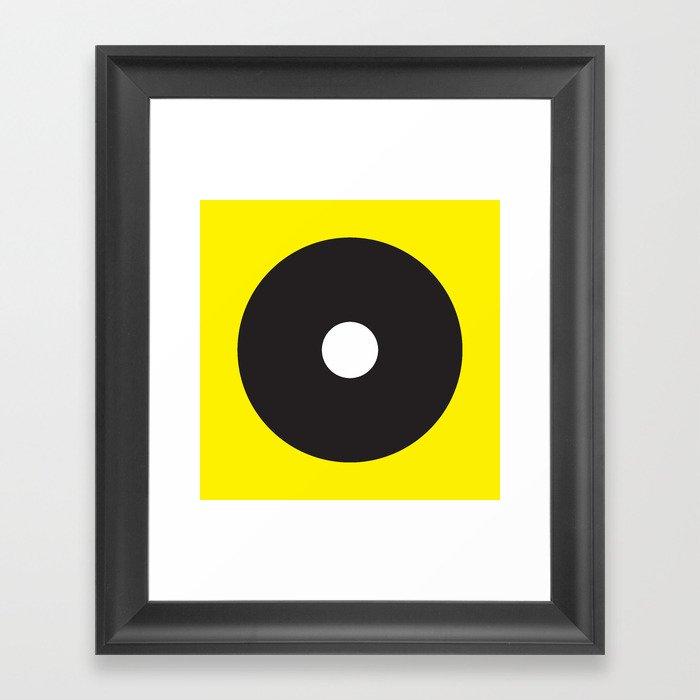 White dot on black on yellow Gerahmter Kunstdruck