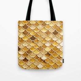 Gold Trendy Glitter Mermaid Scales Tote Bag