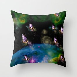 Cookie Cats in Space Throw Pillow