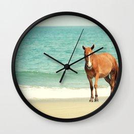 Wild Mustang of Carova, NC Wall Clock