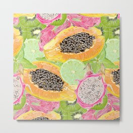 Sunny fruit pattern Metal Print