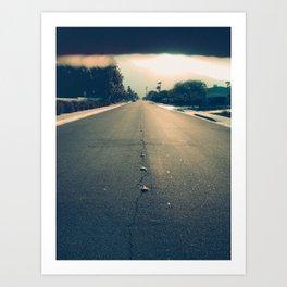 street leading to horizon at sunset Art Print