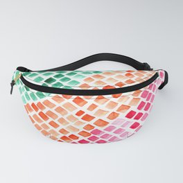 Sea Green Watercolor Tiles Mosaic Square Colourful Abstract Art Art Print Fanny Pack