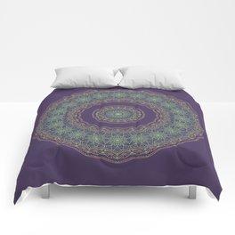 Lotus Mandala in Dark Purple Comforters