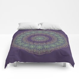 Lotus Mandala in Dark Purple Comforters