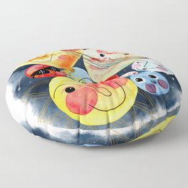Planet Friends - Kids Universe Galaxy Outerspace Solar System Watercolor Floor Pillow