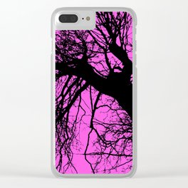 Trees pink bg Clear iPhone Case