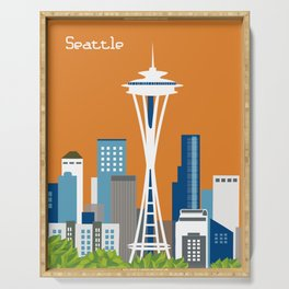 Seattle, Washington - Skyline Illustration by Loose Petals Serving Tray