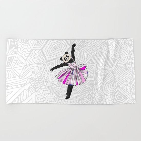 Panda Bear Ballerina Tutu Beach Towel
