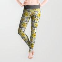 grey Leggings featuring Daffodil Daze - yellow & grey daffodil illustration pattern by micklyn