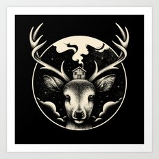 Deer Home Art Print