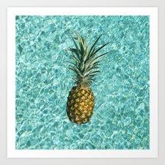 Pineapple Swimming Art Print