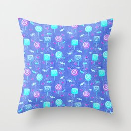 Lollipop And Candy Bright Blue Confection Throw Pillow