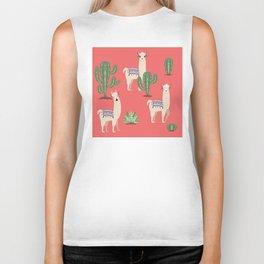 Llama with Cacti Biker Tank