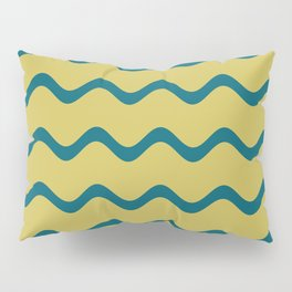 Tropical Dark Teal Simple Soft Rippled Horizontal Line Pattern Inspired by Sherwin Williams 2020 Trending Color Oceanside SW6496 on Dark Yellow Pillow Sham