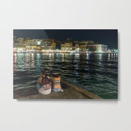 Pondering life at the harbour in Chania Metal Print