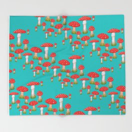 red toadstool Throw Blanket