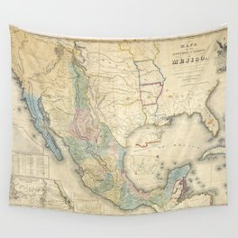 Mexico & Partial USA Map - c.1847 Wall Tapestry