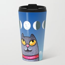 Cat looking at the moon Travel Mug