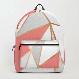 Coral, Grey & Gold Geo Backpack