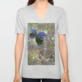 The butterfly of a fractal dreamscape Unisex V-Neck