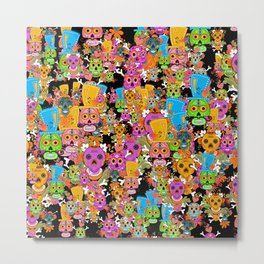 Colorful Sugar Skulls Pattern Metal Print