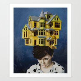 Women with house on her head Art Print
