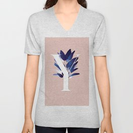 Blue China Palms Letter Y Unisex V-Neck