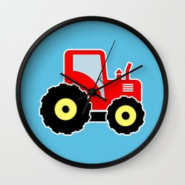 Red toy tractor Wall Clock