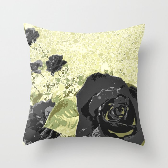 Black Rose Garden Throw Pillow
