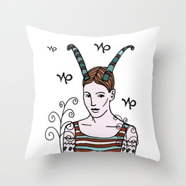 She is a Capricorn Throw Pillow