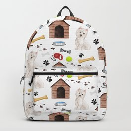 West Highland Terrier Half Drop Repeat Pattern Backpack