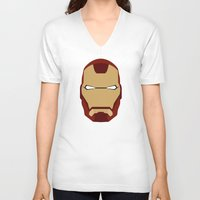 ironman V-neck T-shirts featuring IRONMAN by Alejandro de Antonio Fernández