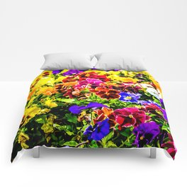 Viola Tricolor Pansy Flowers Comforters