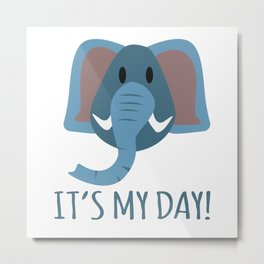 Boy Birthday Elephant Nature Wildlife Kids Children Party Celebration gift idea Metal Print