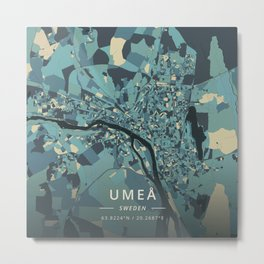 Umea, Sweden - Cream Blue Metal Print