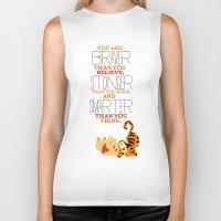 winnie the pooh Biker Tanks featuring stronger, braver, smarter, winnie the pooh by studiomarshallarts
