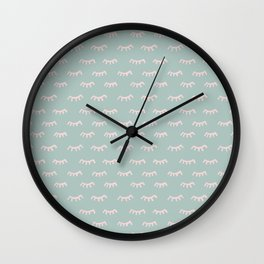 Small Mint Sleeping Eyes Of Wisdom - Pattern - Mix & Match With Simplicity Of Life Wall Clock