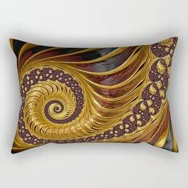 Gold Metallic Swirling Conch Shell Fractal Design Rectangular Pillow