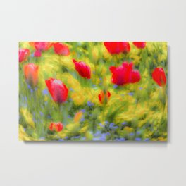 English Summer Flowers Pastel Art Metal Print